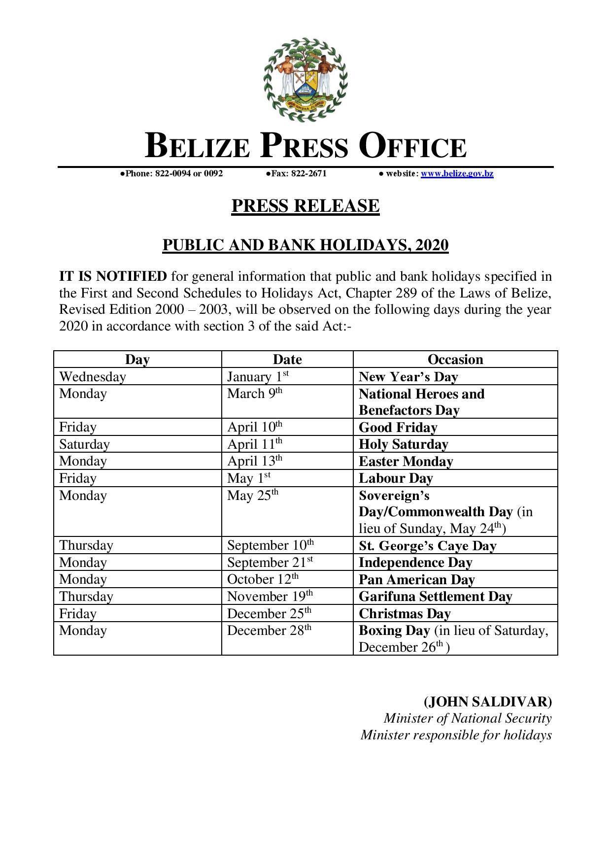 Belize Public Holidays 2020 Publicholidays Bz